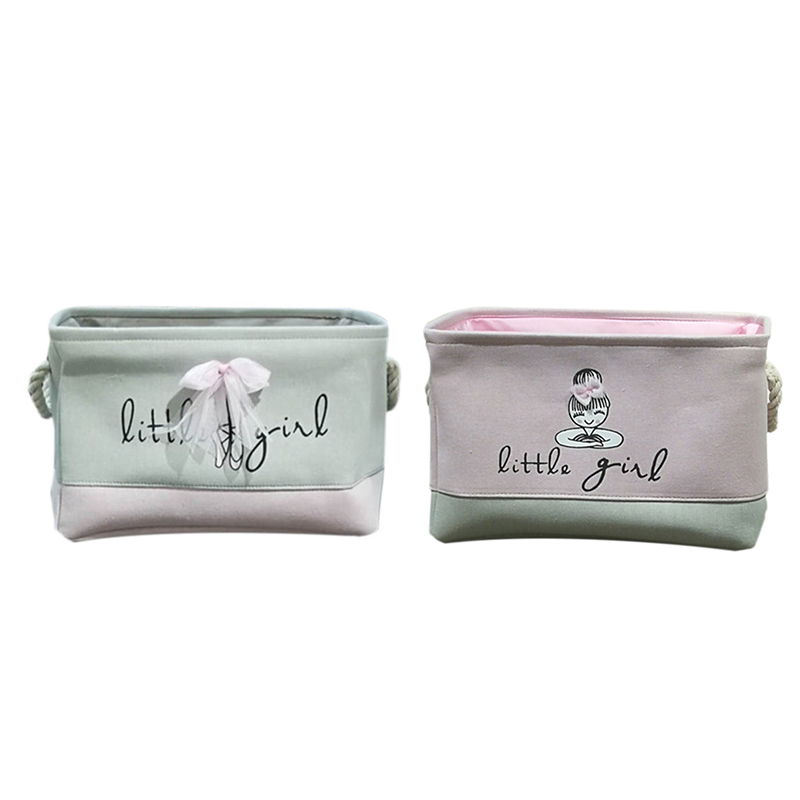 2 Pcs New Pink Laundry Basket Organizer For Dirty Clothes Cotton Ballet Girl Bow Print Toys Organizer Home Storage Organization,