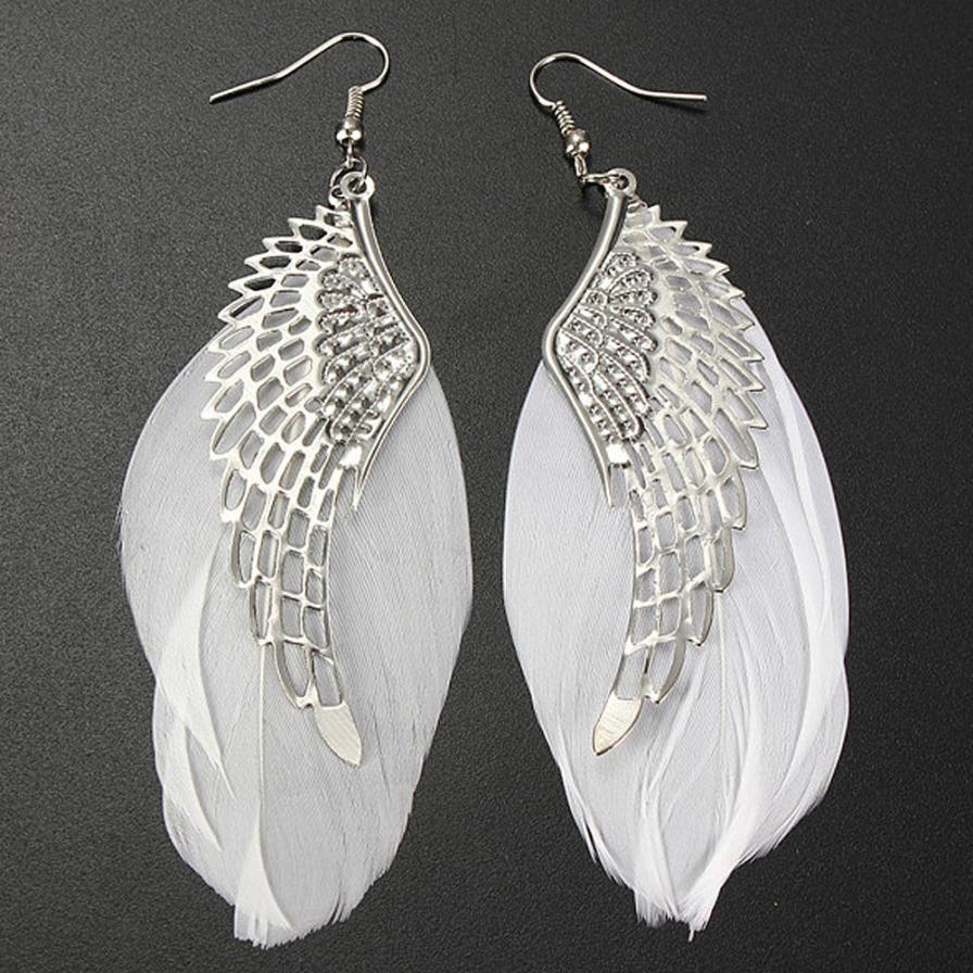 Superb Angel Metal Wing Earrings Bohemian Handmade Exquisite Ornaments Vintage Feather Long Drop Earrings Jewelry Bijoux Trinket