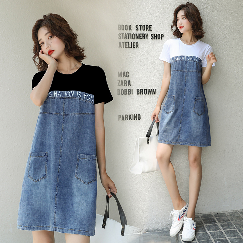 HAYBLST Brand Denim Dress Womens 2020 Summer Short Sleeves Plus Size Clothes High Quality Kawaii Patchwork Korean Style Clothing(China)