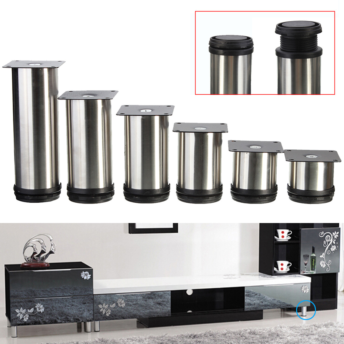 4PCS 5CM-15CM Furniture Adjustable Cabinet Legs Stainless Steel Table Sofa Bed Home Metal Foot Furniture Legs