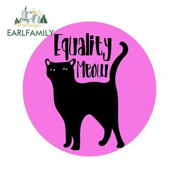 EARLFAMILY 13cm x 13.4cm for Equality MEOW Cat Decal Windshield Refrigerator Car Stickers Anime Cartoon Motorcycle Car Styling image