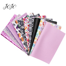 JOJO BOWS 22*30cm 10pcs Faux Synthetic Leather Glitter Fabric Set Halloween Printed Sheets DIY Hair Bow Handmade Crafts Supplies