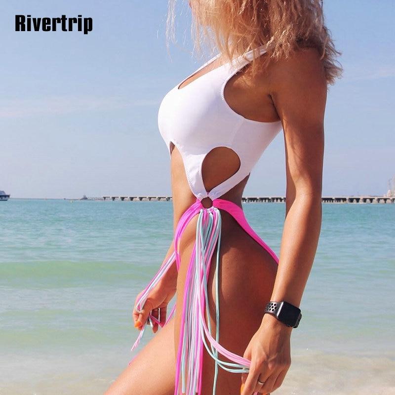 Rivertrip Sólida Borla Um Pedaço Swimsuit Alta Corte Mulheres Swimwear Empurrar Para Cima Maiô Mulheres New Sexy Bodysuit 2019 Monokini