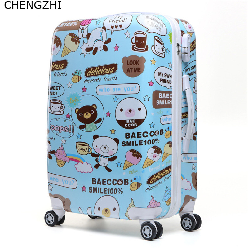 Trolley Suitcase Wheels Travel-Bag Rolling-Luggage-Spinner Carry-On Cartoon Cute Women