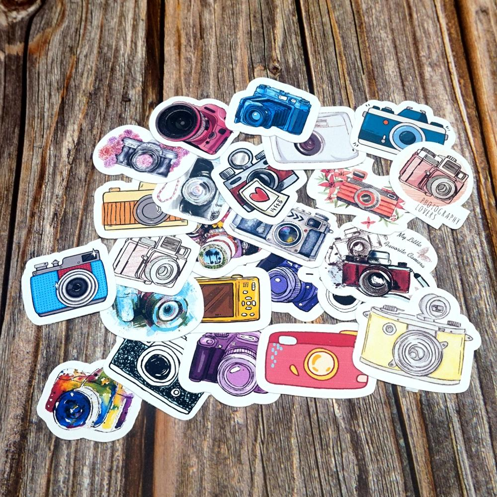 24PCS Lovely Camera Waterproof Stickers DIY Skateboard Suitcase Guitar Luggage Laptop Phone Diary Sticker Kids Gift Stickers Toy