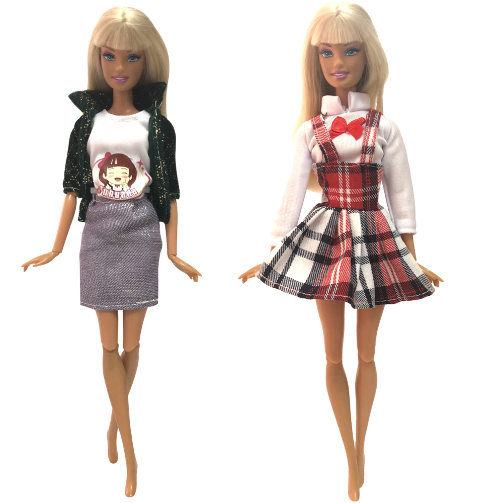 NK  2 Pcs/Set Doll Dress Fashion Skirt  Party Clothes Fashion Outfit For Barbie Doll Accessories  Child Girls'Gift 01C 2X