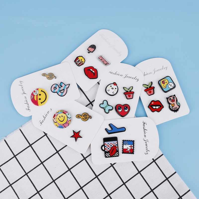 3-4Pcs/Card Red Mix kolor tęczy zwierząt samolot gwiazdy żywności litery słodkie koszula z motywem kreskówkowym broszka akrylowa plakietka szpilki do torebek