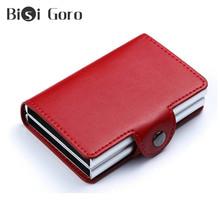 BISI GORO najwyższej jakości skóra pu portfele damskie na karty kredytowe aluminiowe podwójne pudełka portfele na karty identyfikacyjne solidne portfele na organizery tanie tanio Stałe 2 5cminch Organizator portfele 10cminch Krótki NONE Unisex PU Leather CCX-7B 0 15 kg 6 5 cm Wnętrza przedziału