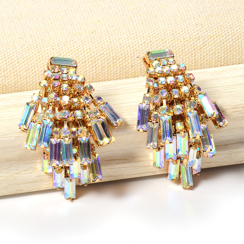 Wholesale ZA New Studded With Full Colorful Crystals Chain Tassel Drop Earrings Hot Fine Jewelry Accessories For Women Christmas