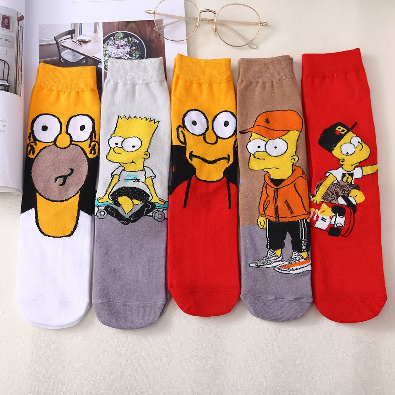 Funny Cartoon Anime Printing Socks Simpson Personalized  Men Women Breathable Cotton Casual  HipHop Novelty Sock Gifts For Men