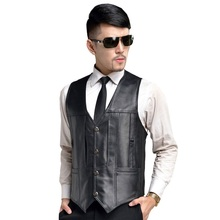 2017 male leather vest sheepskin mens the elderly spring and autumn casual