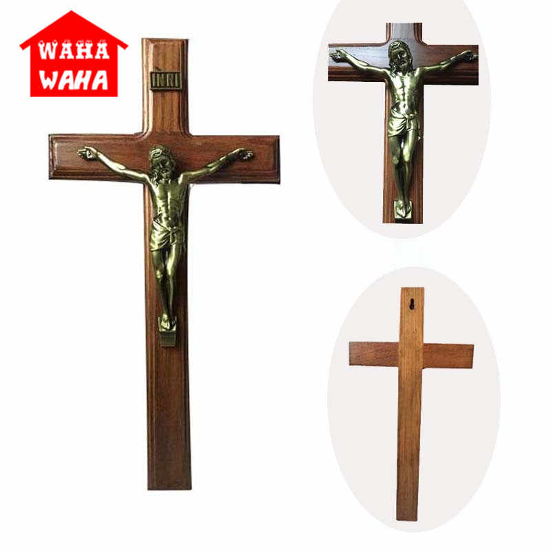 40*20CM duvar asılı ahşap bronz çapraz haç İsa mesih antika gümüş kaplama İsa INRI çapraz ev şapel dekor