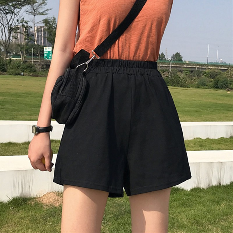 2020 Summer Women High Waist Shorts Casual Loose Wide Leg Shorts Seaside Beach Vacation Solid Color Pants