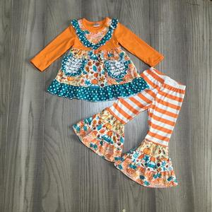 Image 4 - new fall/winter baby girls children clothes  plum orange floral flower stripe pants ruffles cotton long sleeve outfits boutique