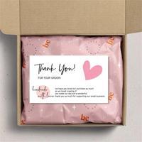 30 sztuk/paczka różowa karta z podziękowaniami za wsparcie pakiet biznesowy dekoracja wizytówka ręcznie z miłością dla sprzedawców prezenty