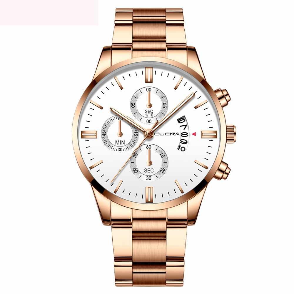 2019 Baru Ini Biru Kasual Mesh Belt Fashion QUARTZ Gold Watch Mens Watches Top Brand Mewah Tahan Air Clock Relogio Masculino