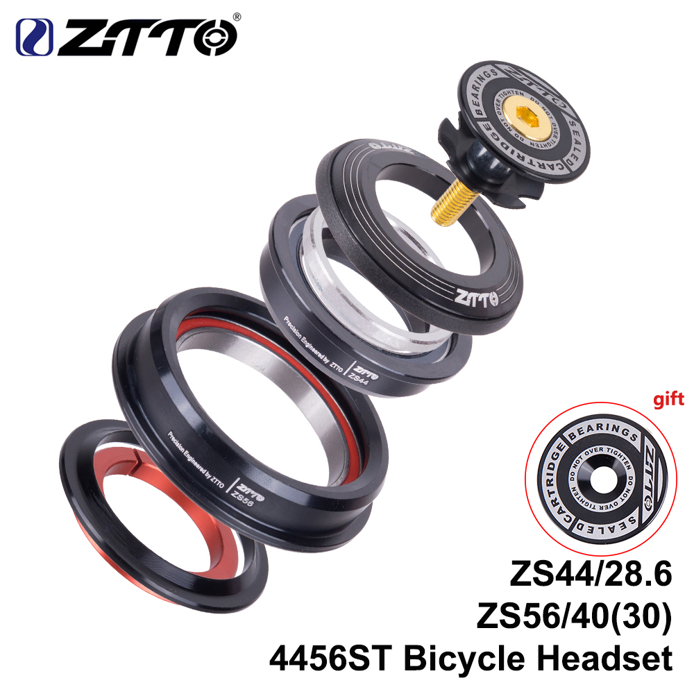 """ZTTO 4456ST MTB Bike Road Bicycle Headset 44mm 56mm CNC 1 1/8\""""-1 1/2\"""" 1.5 Tapered 28.6 Straight Tube fork Internal 44 56 Headset"""