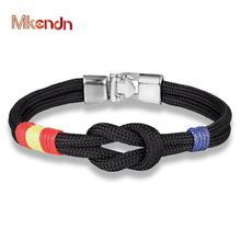 MKENDN New Country Spain Flag Sport Camping Paracord Men Women Infinity Nautical Survival Rope Chain Bracelet Sport Style(China)