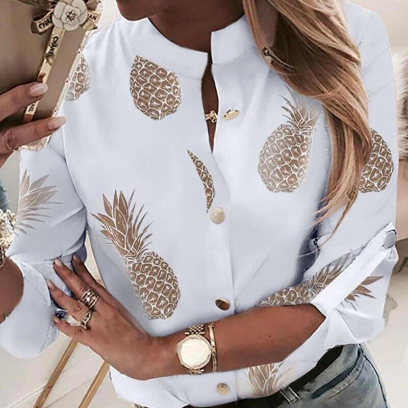 Женская Офисная летняя блузка с круглым вырезом и длинным рукавом, женская рубашка на пуговицах