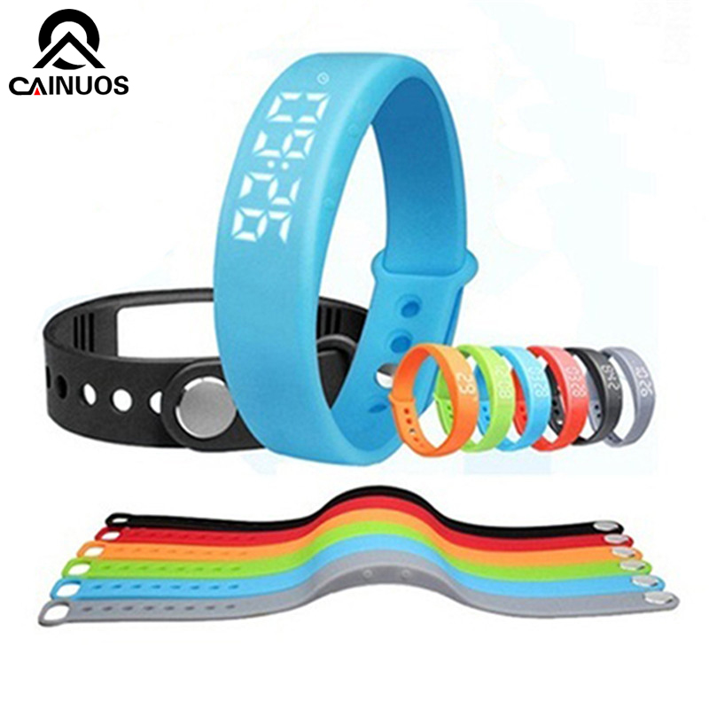 CAINUOS Hot Sale Colorful Women's Bracelet Silicone Smart Wrist Watch Pedometer W5 Calories Tracing Sports Bracelet Watches