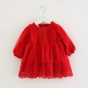 Image 2 - Bebê meninas vestido de renda tule bordado lanterna manga festa princesa vestido crianças roupas para a criança 0 2y