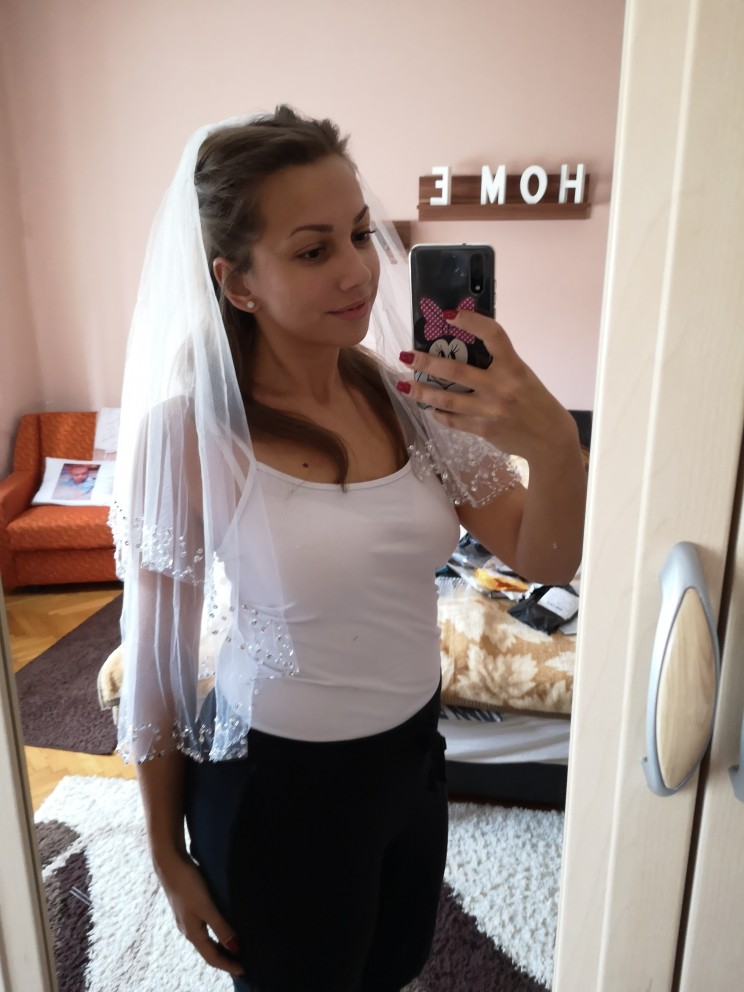 Wedding Veils Ivory Comb Beaded-Edge White Woman 75cm with 2-Layers Handmade