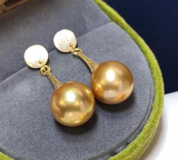D325 Pure 925 Sterling Silver Fine Jewelry Fresh Water Golden 9-10mm Round Pearl Dangle Earrings for Women Fine Pearl Earrings