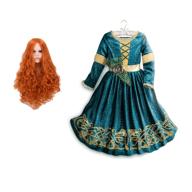 Child Girls Brave Merida Dresses Princess Merida Cosplay Costume Halloween Costumes Kids Cartoon Anime Dress Uniform Merida Wig