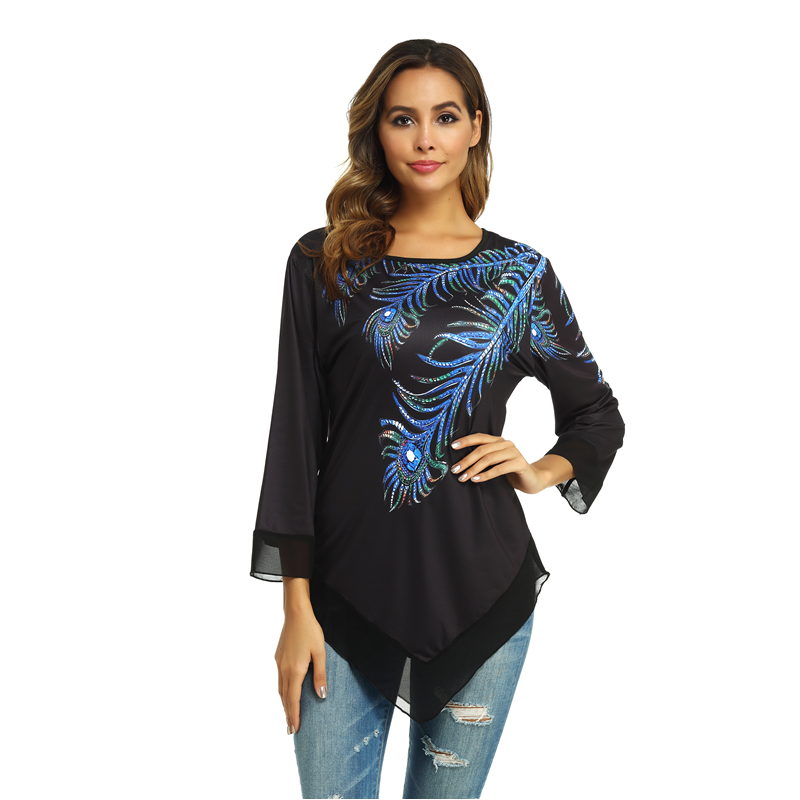 Peacock Feather Print T Shirts Women Fashion Black Tee Shirt Large Size Casual Top Pullover 5XL Long Sleeve Shirts Women