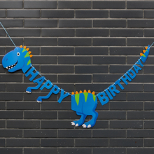Dinosaur Happy Birthday Banner Baby Shower Pattern Cupcake Topper for Kids Party Decorations