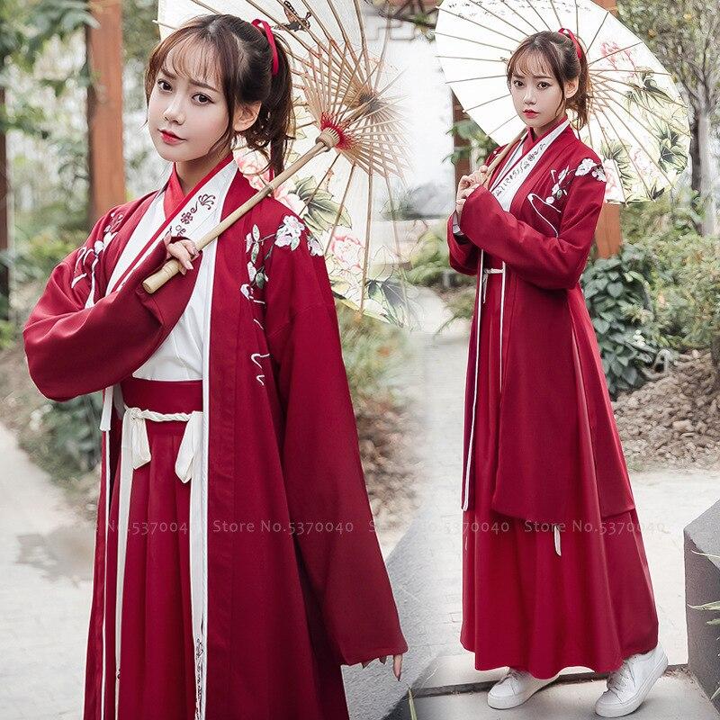 Traditional Chinese Women Hanfu Tang Suit Dynasty Clothing Set Kimono Yukata Floral Robe Skirt Party Dress Dance Cosplay Costume