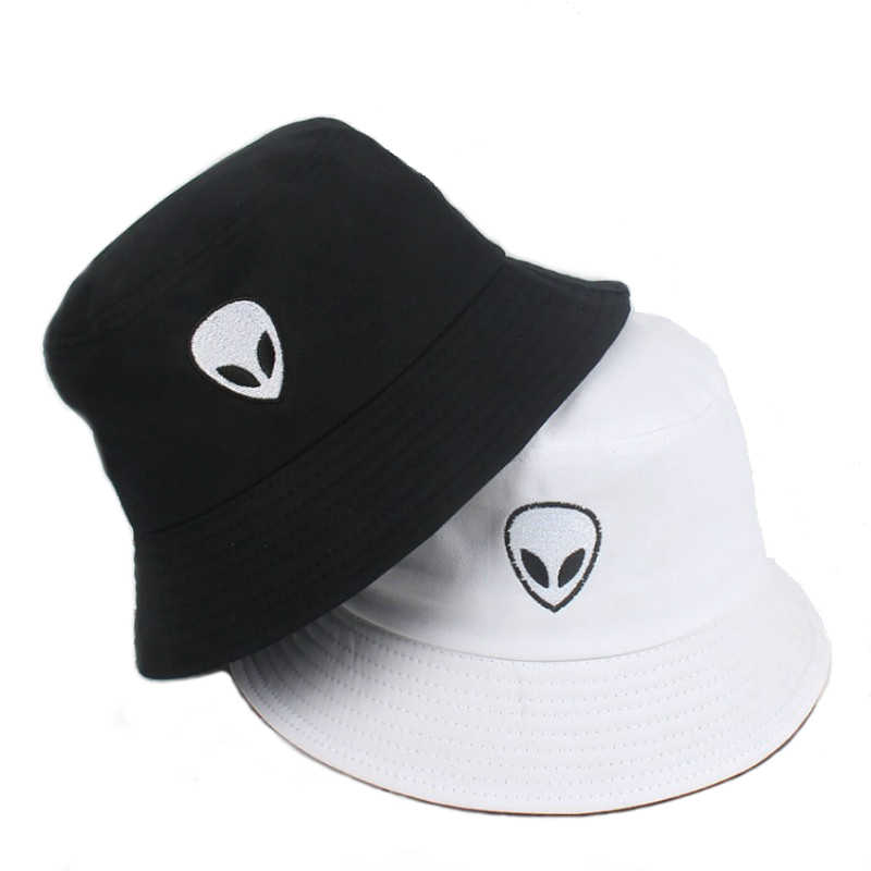 Black White Fisherman Cap Solid Hip Hop Alien Panama Bucket Hat Beach Punk Headwear Harajuku Foldable Sun Protector Floppy Korea
