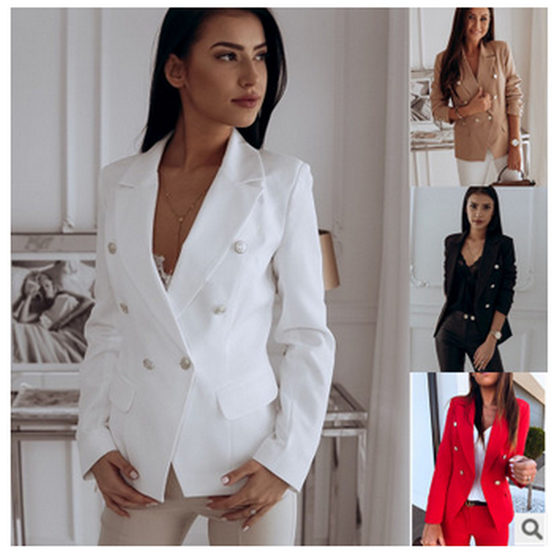 2019 Autumn Winter Womens Coat Elegant Long Sleeve Solid Color High Quality Blazer Metal Buckle Double Breasted Small Suit Hot