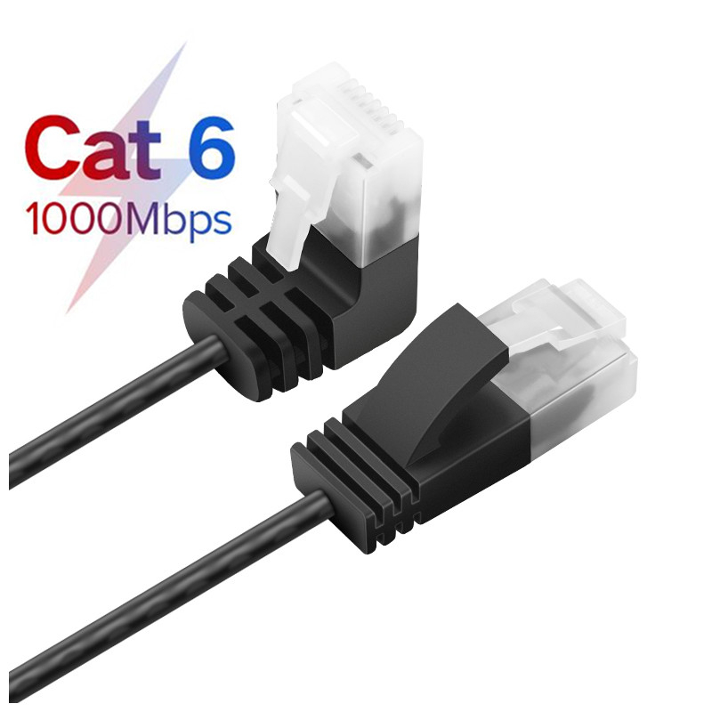 Cat6 Ethernet Cable RJ45 Right Angle UTP Network Cable Patch Cord 90 Degree Cat6a Lan Cables For Laptop Router TV BOX RJ45