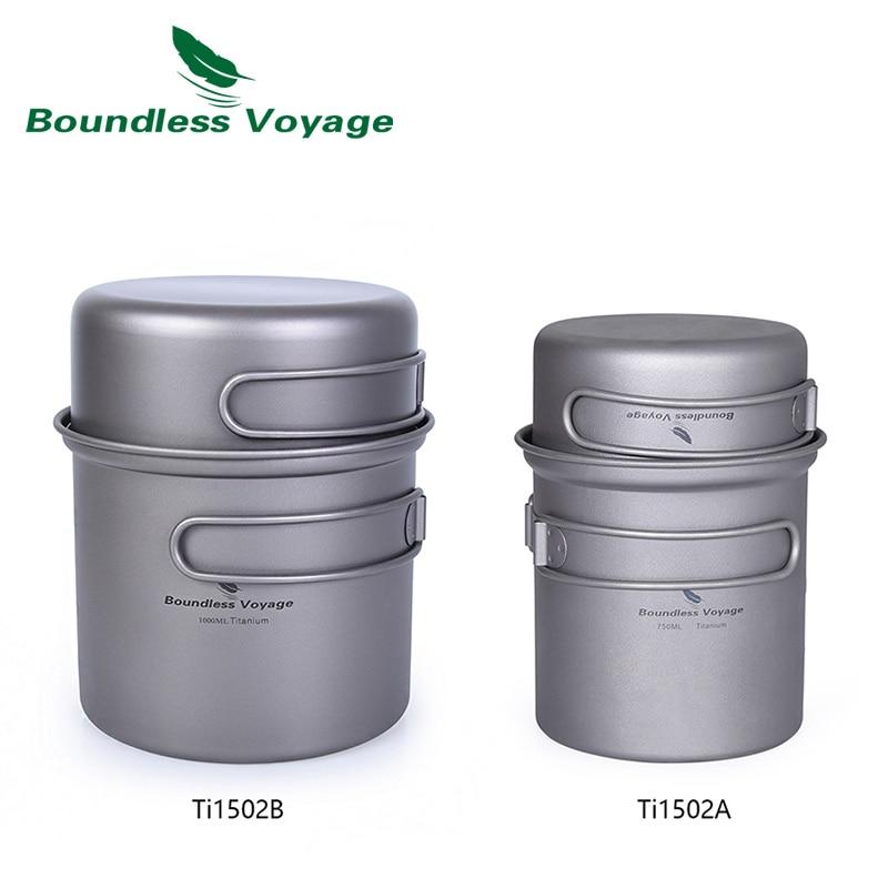 Boundless Voyage Titanium Pot Pan Set Camping Cookware Outdoor Cup Bowl Lightweight Cooking Kit with Folding Handle for 1-2 Man