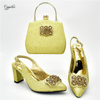 Fashion gold pumps with bag set amazing spring/autumn high heel shoes and handbag set for lady 108 4 heel height 7cm