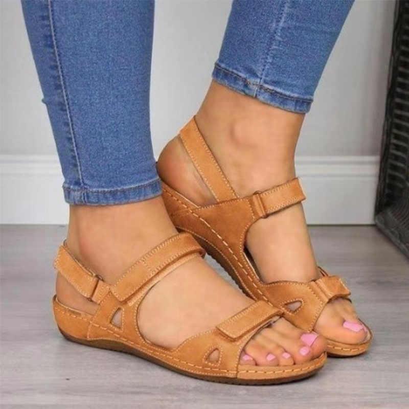 MCCKLE/Женские винтажные сандалии на липучке; Сезон лето; Повседневные женские сандалии в стиле ретро; Женская обувь на платформе; Большие размеры; 2020