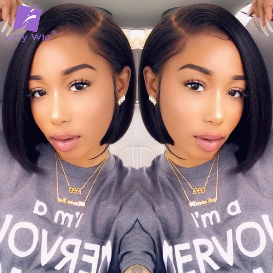 Bob Fake Scalp Human Hair Wigs 130%-180% Short Straight Remy Brazilian 13x6 Lace Front Wig Glueless PrePlucked For Women LUFFY