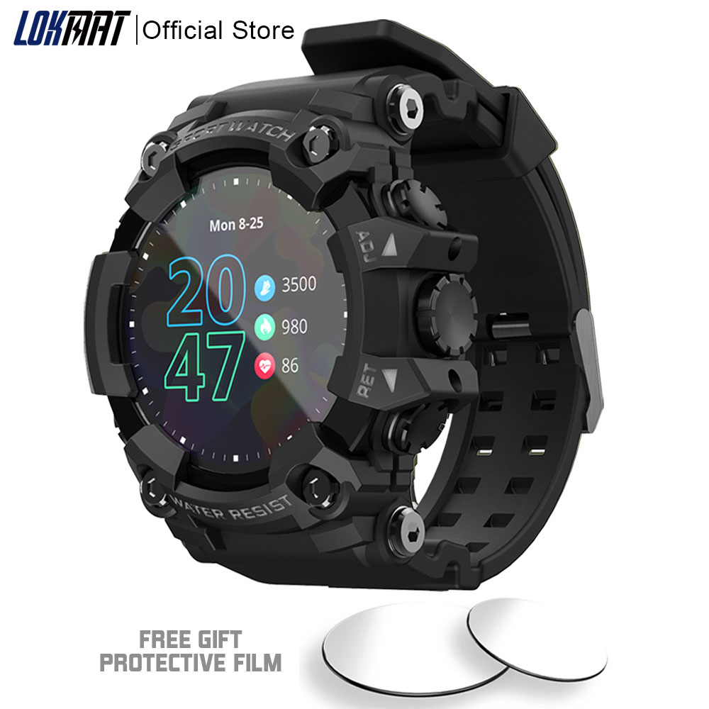 LOKMAT ATTACK Full Touch Screen Fitness Tracker Smart Watch Men Heart Rate Monitor Blood Pressure Smartwatch For Android ios