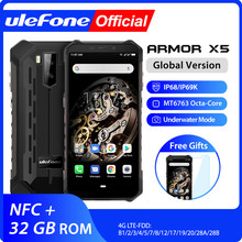 Ulefone armor x5 mt6763 octa núcleo ip68 impermeável áspero smartphone android 9.0 telefone celular 3gb 32gb nfc 4g lte telefone móvel