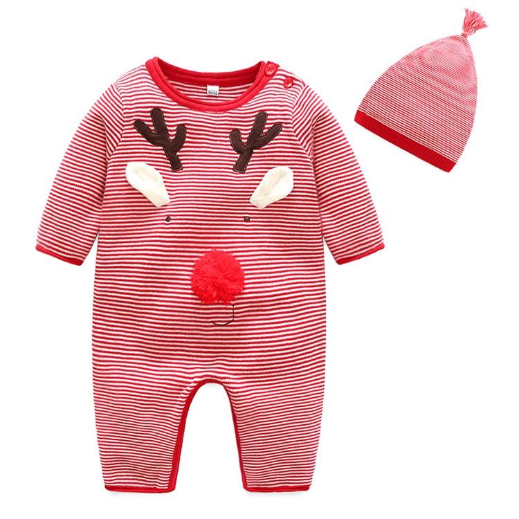 Bébé tricoté Costume hiver rouge rayé Double pont coton Elk motif infantile garçons filles combinaison chaude barboteuse vente de noël