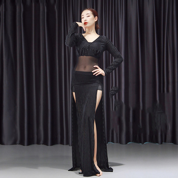 New Arrival Belly Dance Costume Training Suit Sexy Mesh Tops Split Skirt Two-Piece Oriental Dance Performance Clothes DWY3071