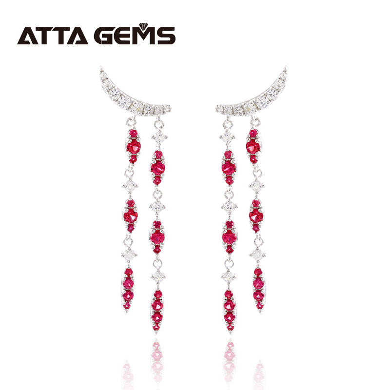 Ruby Sterling Silver Drop Earring for Women Wedding Created Ruby Silver Jewelry Romantic Design Engagement Anniversary Jewerly
