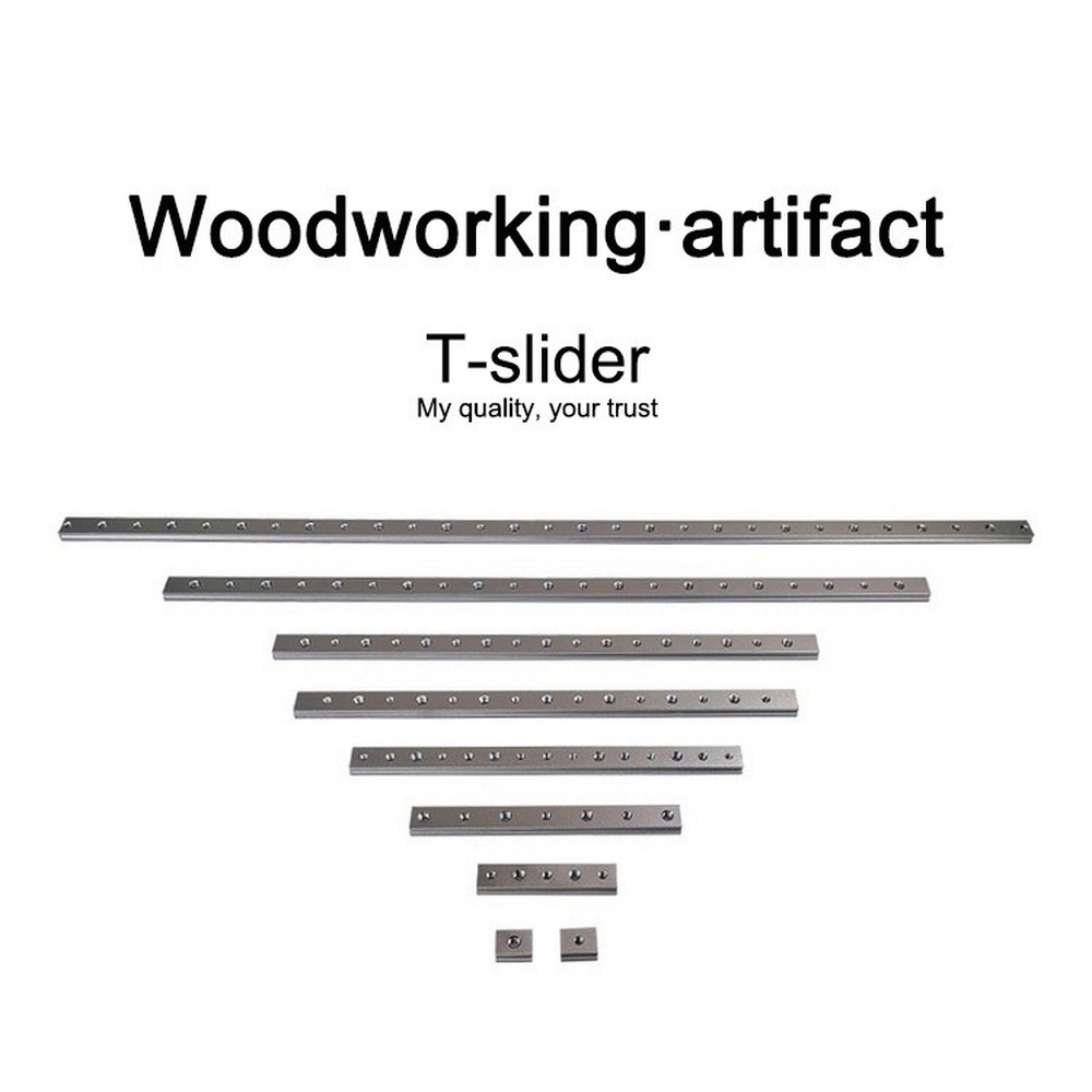 T-track Slot 100/200/300/400mm Aluminum Alloy Track Slider Router Slide Slab T-Slot Miter Table DIY Woodworking Jigs Screw Tools
