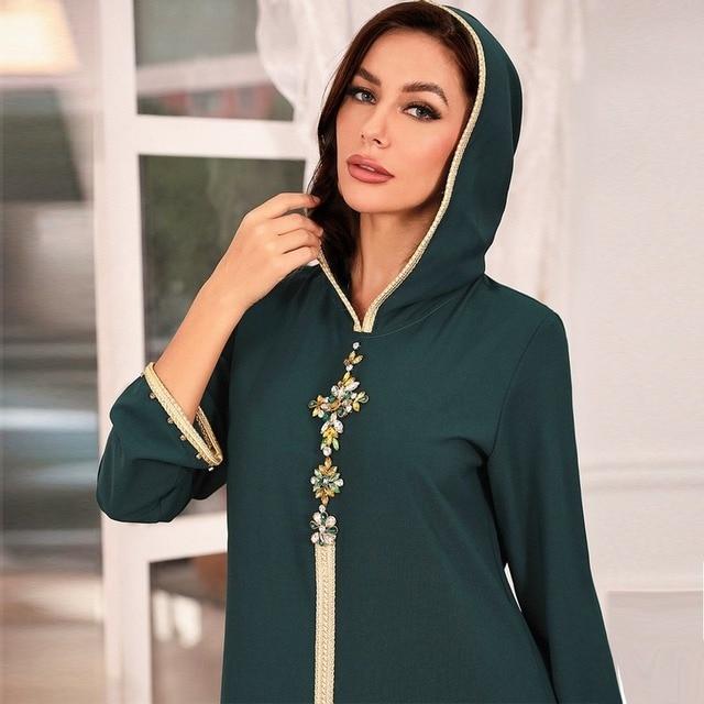 Hooded Kaftan Dress for Women Fashion Ethnic Hand Stitch Diamond Ribbon Trim Moroccan Dubai Turkey Arabic Clothes Eid 4