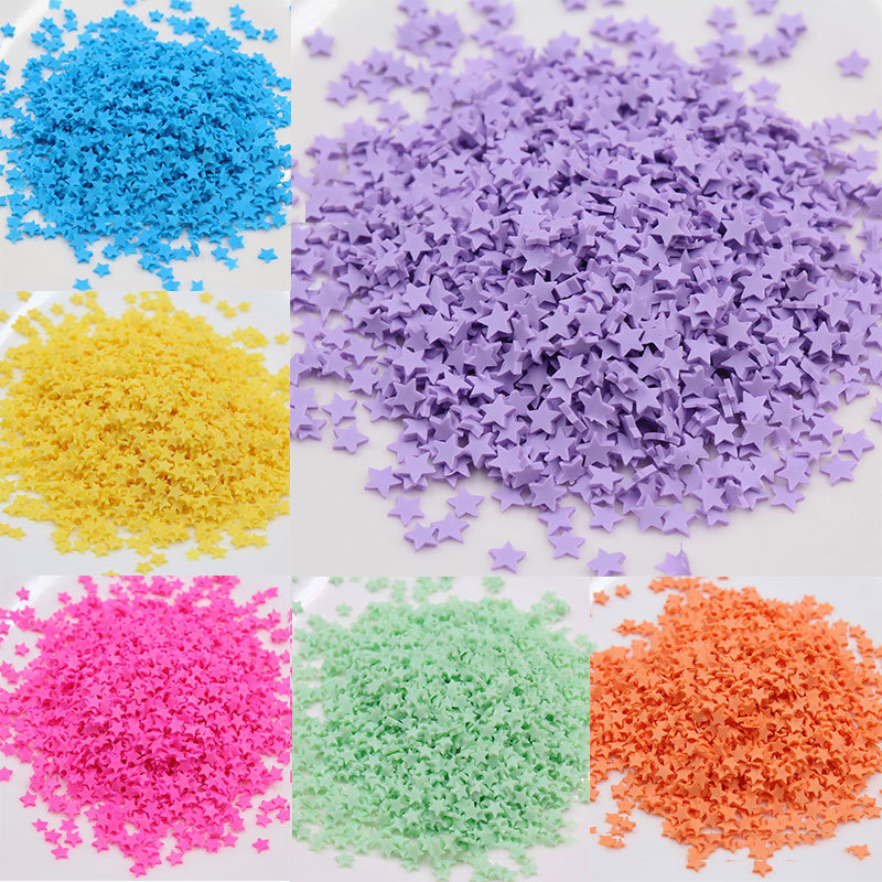 100g Star Shape Polymer Hot Clay Sprinkles for Crafts Colorful Tiny Cute Plastic Klei Accessories DIY Nail Art Decoration 5mm