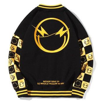 2019 New Arrival Male Embroidery Collar Baseball Uniform Fleece Coat Loose Big Cotton Casual Brand Clothing Bomber Jacket Men