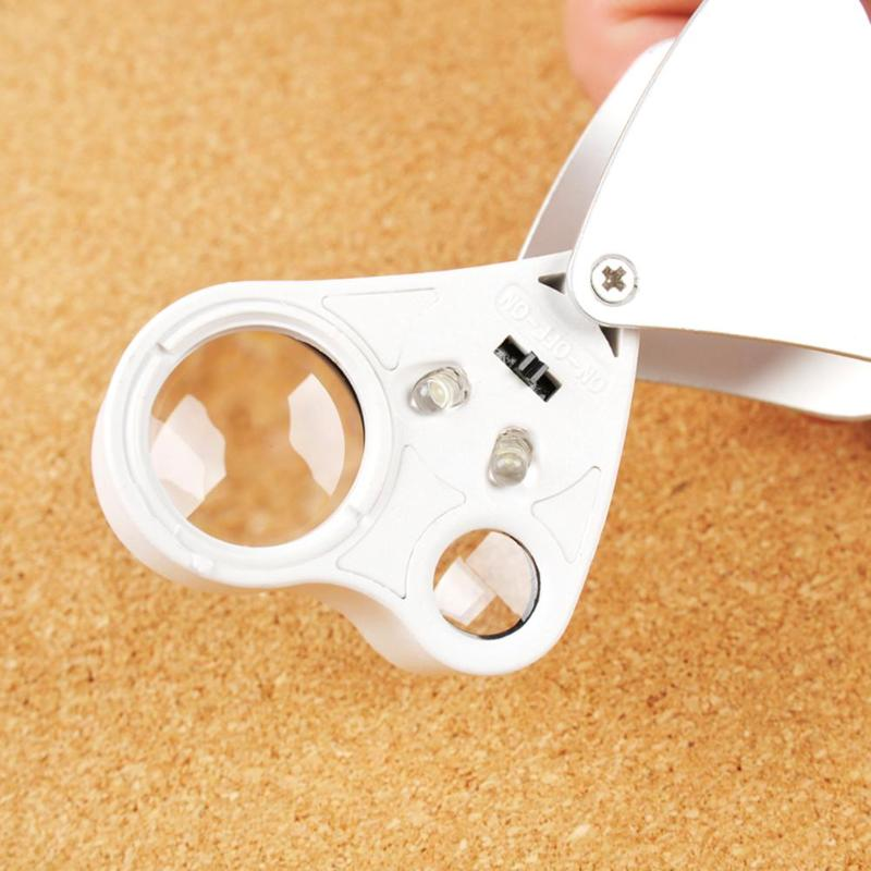 White Color 2 LEDs 30X 60X Glass Magnifying Magnifier Jeweler Eye Jewelry Loupe Dual Lens Appraisal tool