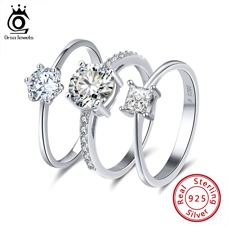 ORSA JEWELS Real 925 Sterling Silver Women Solitaire Rings Cubic Zircon Female Wedding Ring Fashion Jewelry For Any Party SR116(China)
