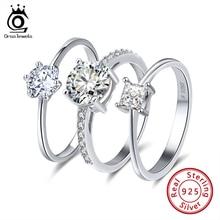 ORSA JUWELEN Echt 925 Sterling Silber Frauen Solitaire Ringe Cubic Zirkon Weibliche Hochzeit Ring Modeschmuck Für Jede Party SR116